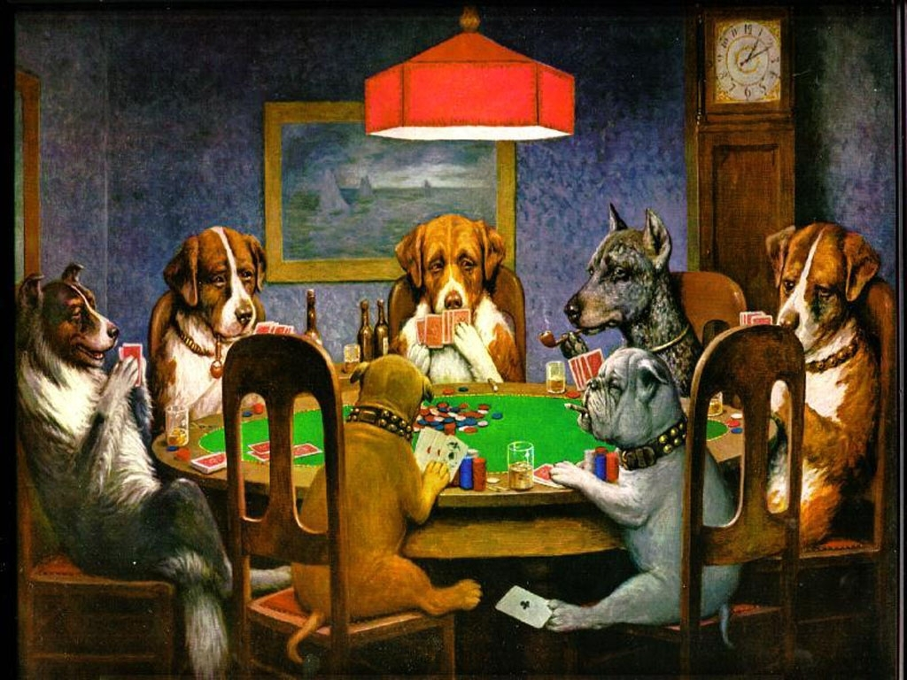 who painted the famous poker playing dogs?