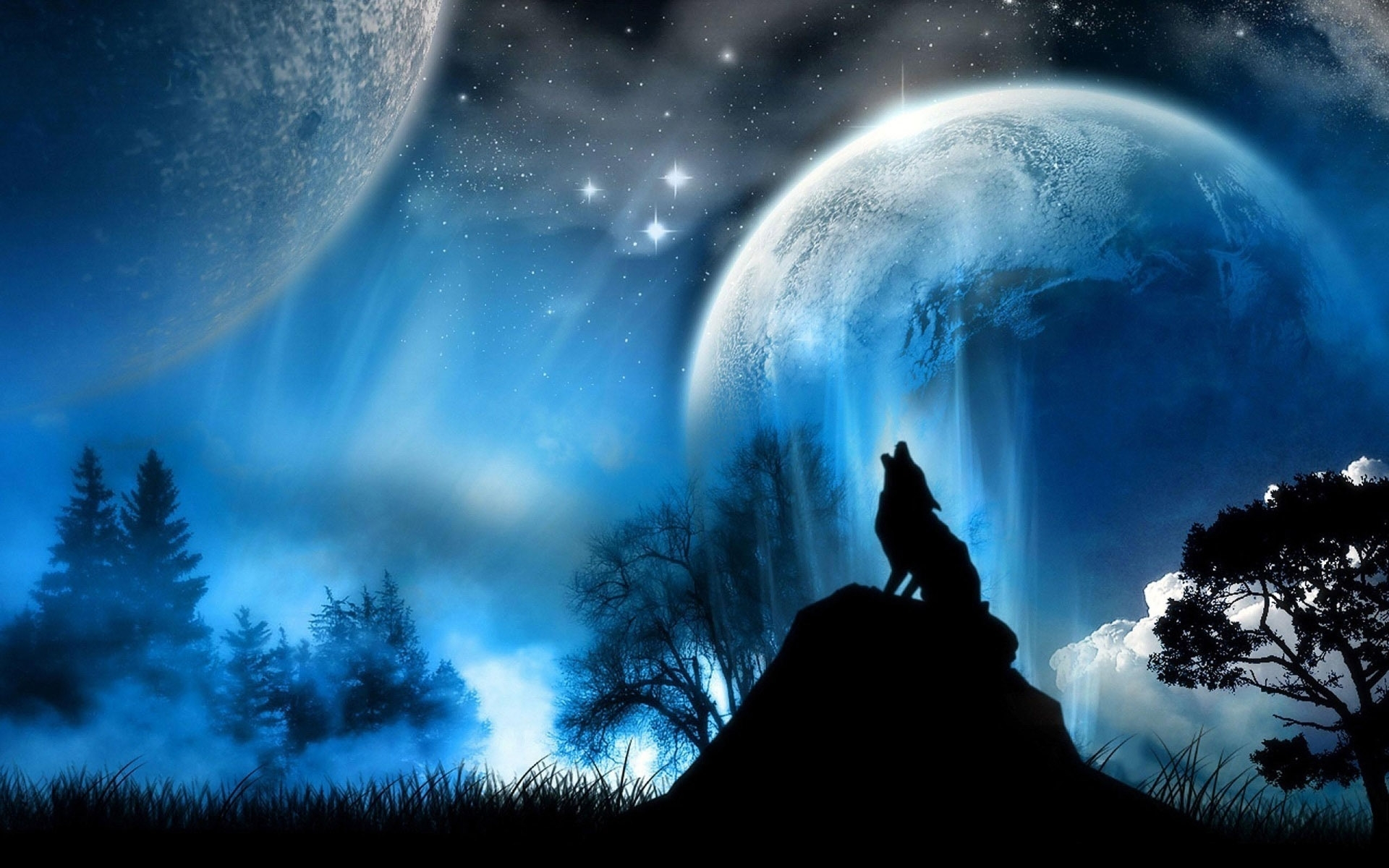 wolf and moon wallpaper - hd wallpapers