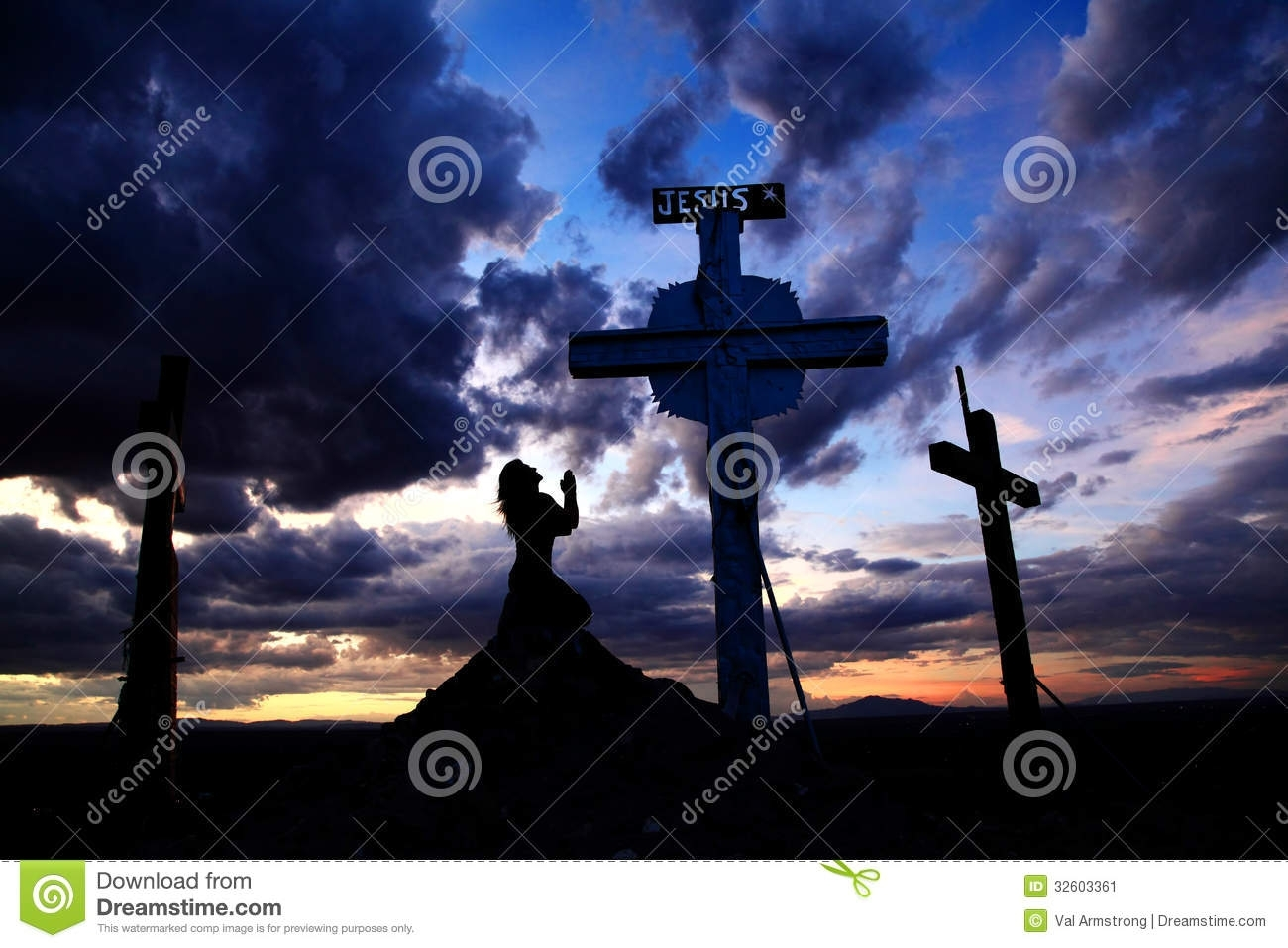 woman praying at cross in sunset stock image - image of hill